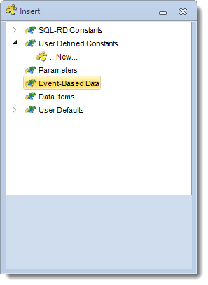 SSRS. Insert Menu: Event Based Data in SQL-RD