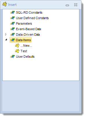 SSRS. Insert Menu: Data Item in SQL-RD
