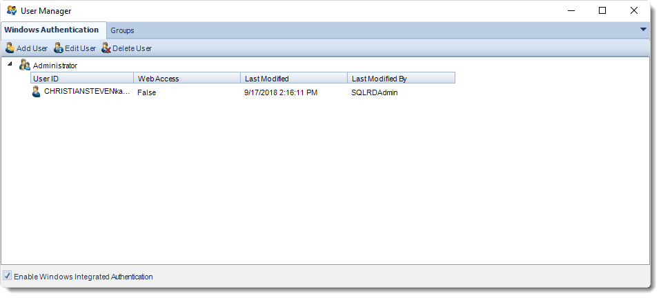 SSRS. Windows Authentication section in User Manager in SQL-RD.