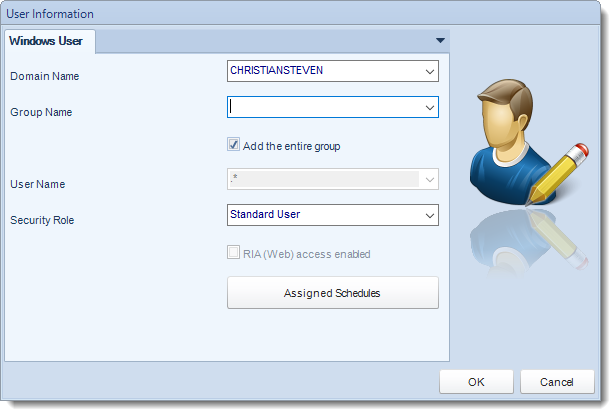 SSRS. Windows user information in  Windows Authentication section in User Manager in SQL-RD.
