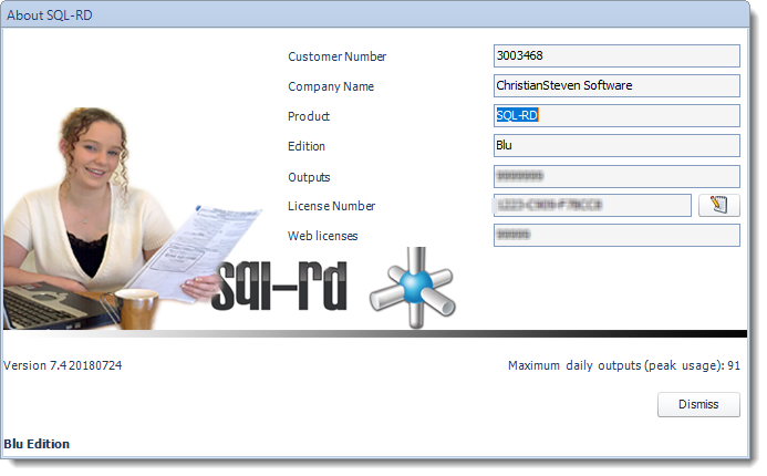 SSRS. The About Screen in SQL-RD.