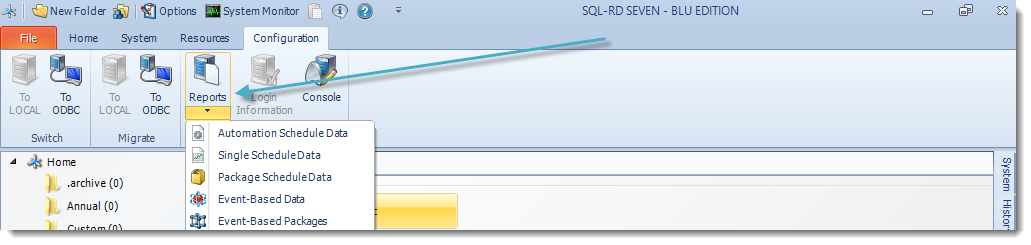 SSRS. SQL-RD Configuration Menu.