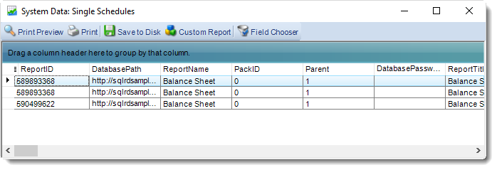 SSRS. System Data Schedules in SQL-RD.
