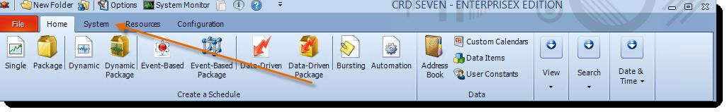 Crystal Reports: CRD Home Menu.