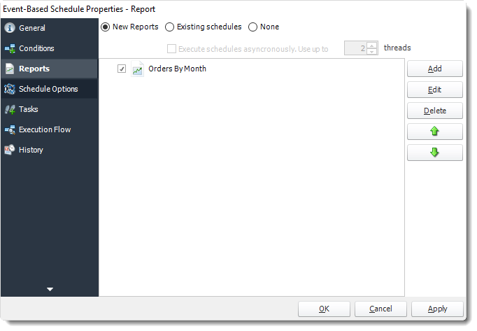 Power BI and SSRS. Reports Wizard of Event Based Schedule Properties in PBRS.