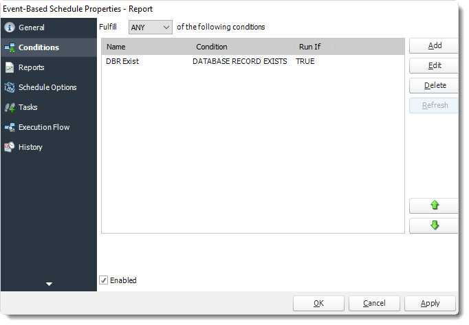 Power BI and SSRS. Conditions Wizard of Event Based Schedule Properties in PBRS.