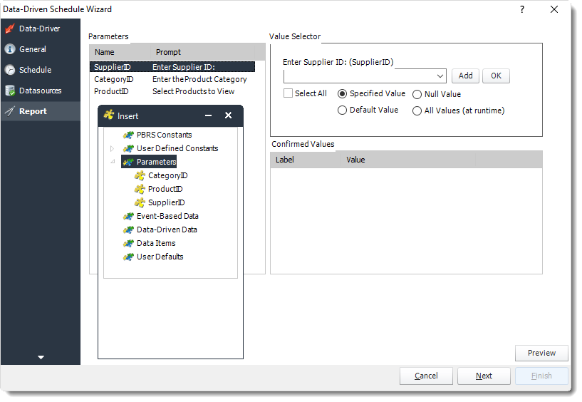 Power BI and SSRS. Report Wizard in Data Driven Schedule in PBRS.