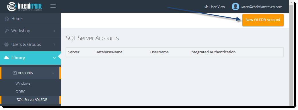 KPI's and Dashboards: SQL Server/OLEDB Accounts in IntelliFront BI.