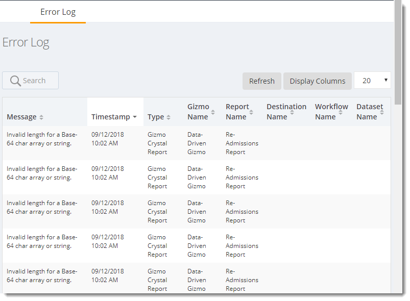KPI's and Dashboards: Error Log in IntelliFront BI.