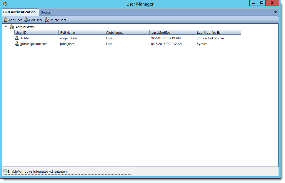 Crystal Reports: User Manager in CRD.