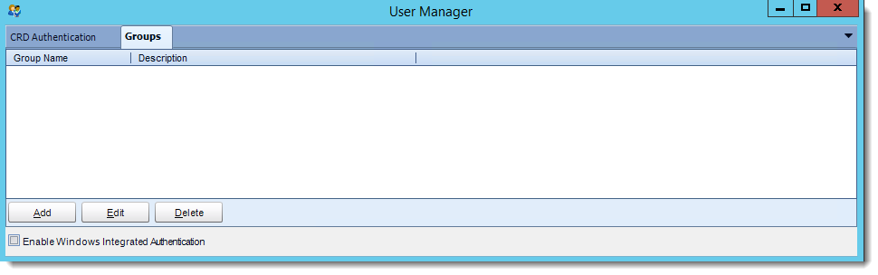 Crystal Reports: Groups in User Manager in CRD.