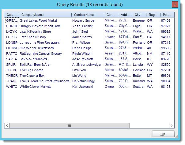 Crystal Reports: Query Results from Get Values from Database interface in CRD.