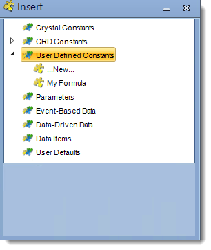 Crystal Reports: Insert Menu in CRD.