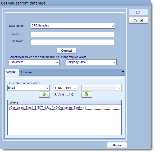 Crystal Reports: Get Values from Database interface in CRD.