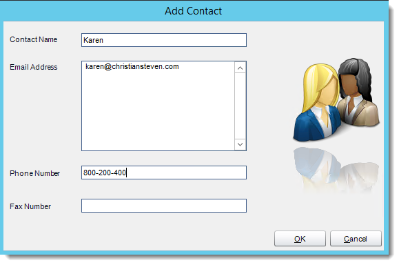 Crystal Reports: Adding a contact in Address Book in CRD.