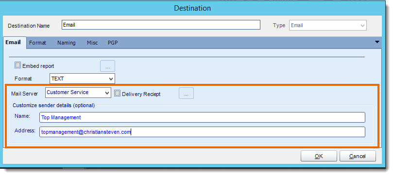 Crystal Reports: Sending Through Another SMTP Account or Customize Sender Details in CRD.