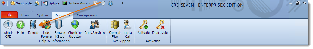 Crystal Reports: CRD Resources Menu.