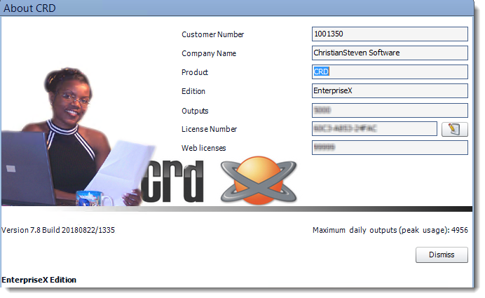 Crystal Reports: About CRD pop-up.