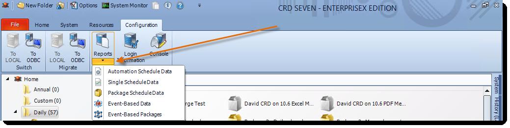 Crystal Reports: CRD Configuration Menu.