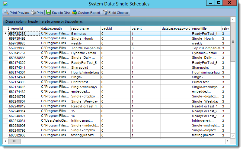 Crystal Reports: System Data in CRD.