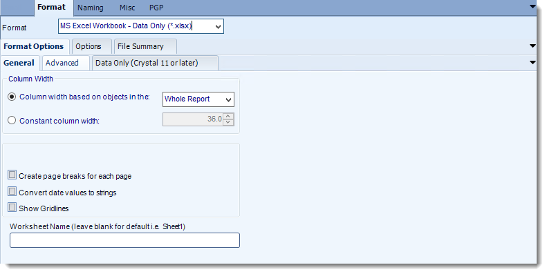 Crystal Reports: MS Excel output format options in CRD.