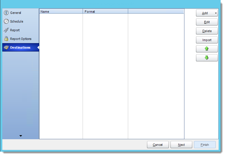 Crystal Reports: Destinations Wizard in CRD.