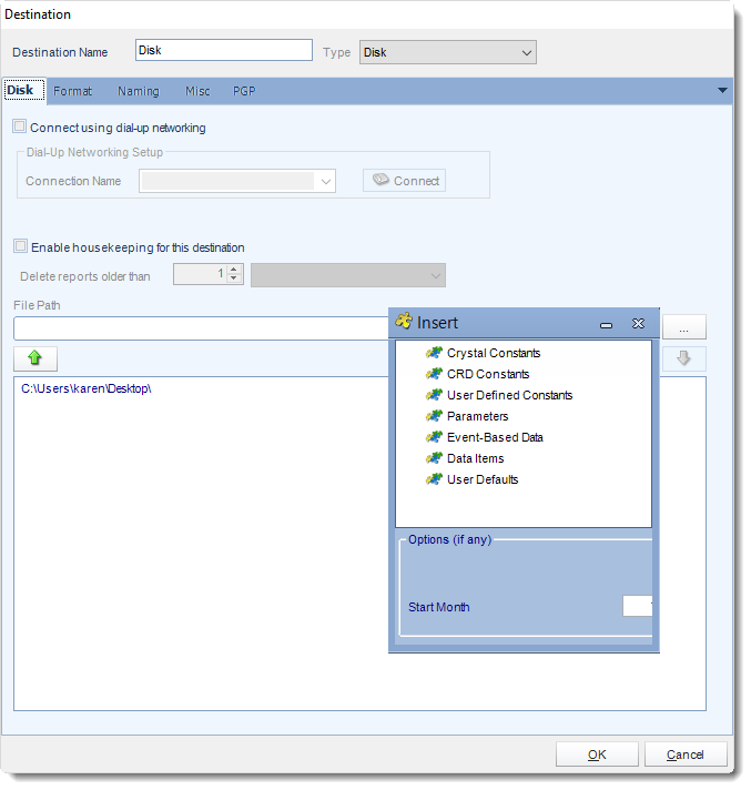 Crystal Reports: Disk Destination in CRD.