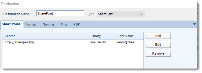 Crystal Reports: SharePoint destination in CRD.