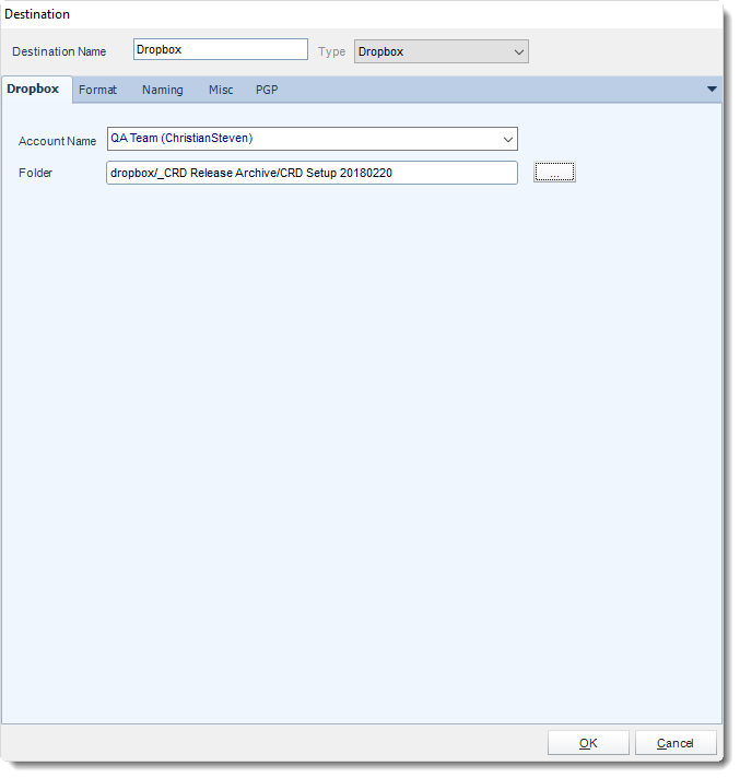 Crystal Reports: Dropbox Destination in CRD.