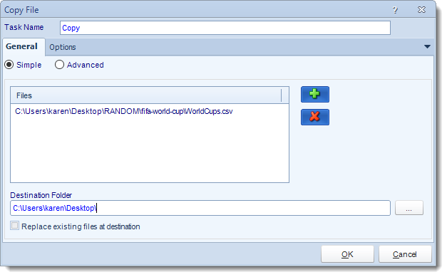 MS Access. Custom Tasks: Copy File in MARS.