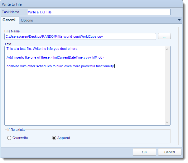 MS Access. Custom Tasks: Write Text File in MARS.