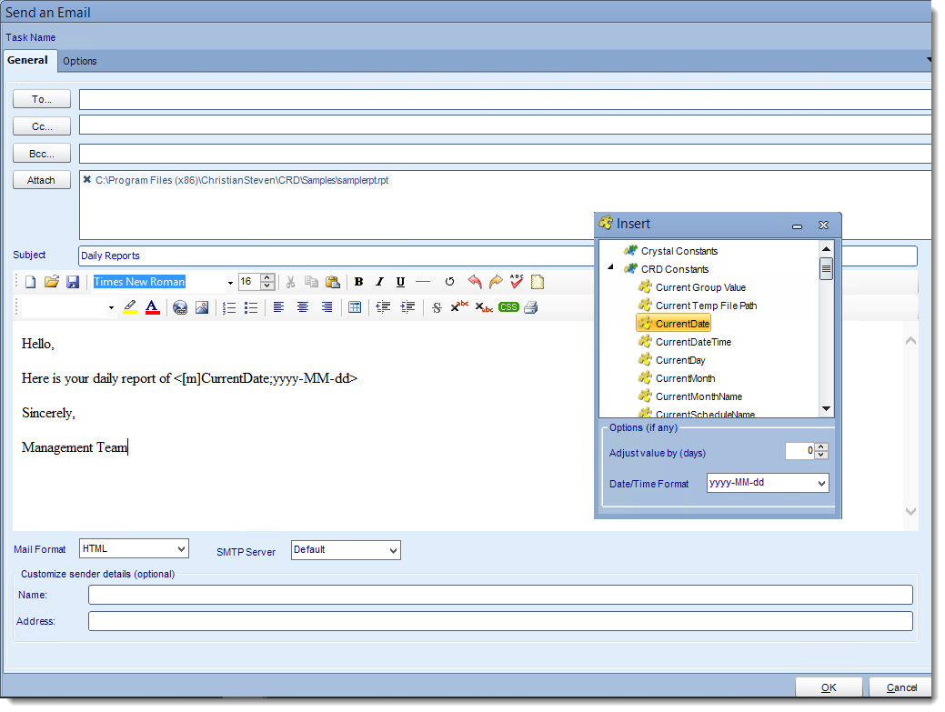 Crystal Reports: Send Email tasks in CRD.
