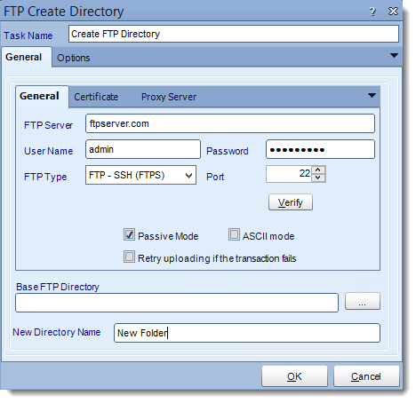 Crystal Reports: FTP Create Directory tasks in CRD.