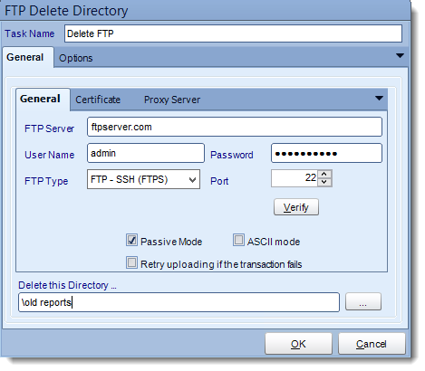 Crystal Reports: FTP Delete Directory tasks in CRD.