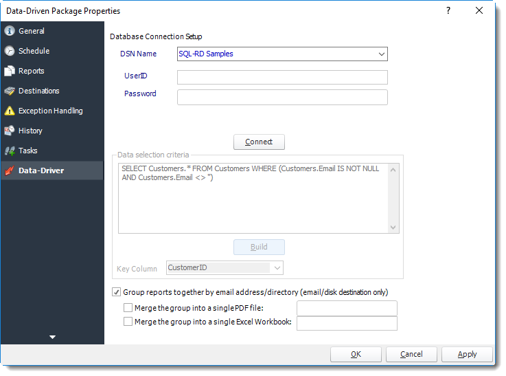 Power BI and SSRS. Data-Driver Wizard in Data Driven Package Properties in PBRS.