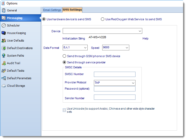 SSRS. SMS Settings in Messaging Options section in SQL-RD