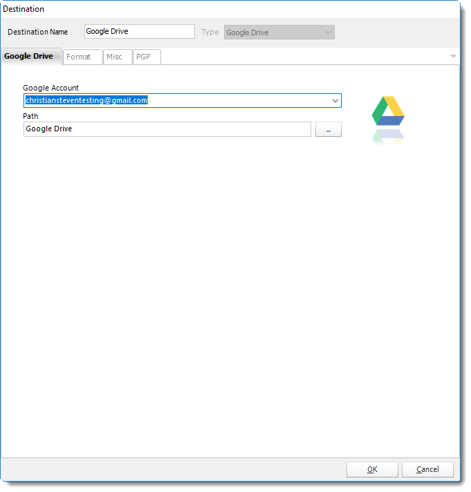 Google Drive Destination in CRD
