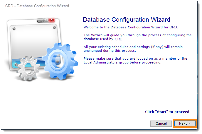 Crystal Reports: CRD Database Configuration Wizard.