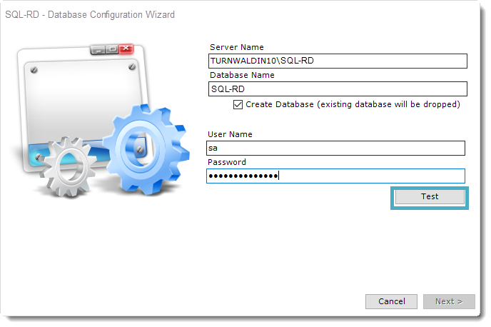 SQL-RD Database Configuration Wizard.