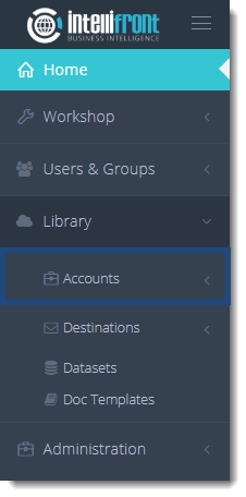 KPI's and Dashboards: Accounts information in IntelliFront BI.