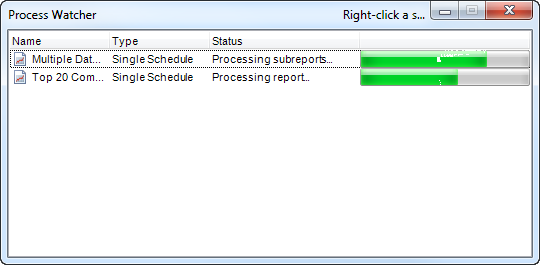 Crystal Reports: Process Watcher in General in Options in CRD.