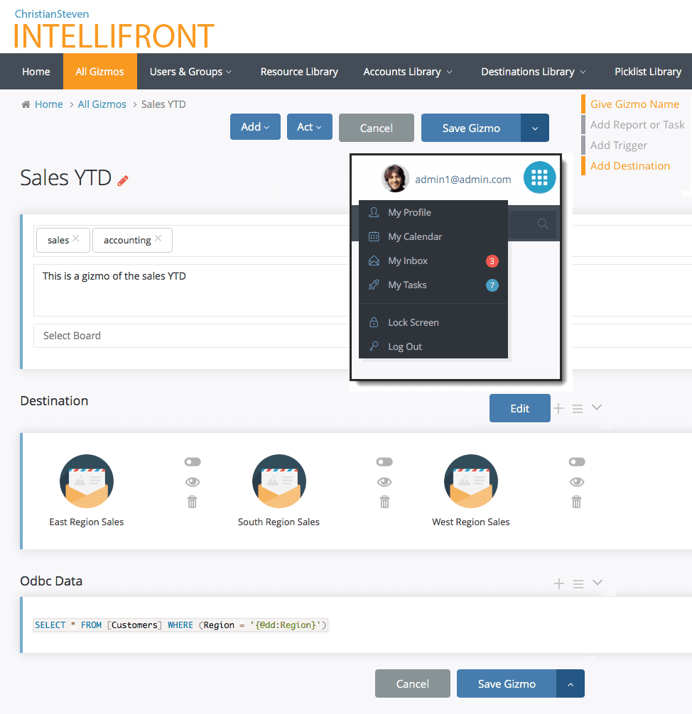 IntelliFront BI | Set-up, Gizmos and Libraries